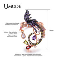 UMODE Vivid Phoenix Shaped Multicolor and Multishaped Cut CZ Rings Rose Gold Color Rings for Women Chic Jewellery Anel UR0283