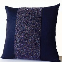 "Amore Beaute Navy Blue Decorative Pillow Case with Sequins and Beads Embroidery - Designer Throw Pillowcase - Navy Blue Art Silk Metallic Throw Pillow Covers - Handcrafted Thorw Pillows for Sofa - Gift- Euro Sham (20"" x 20"")"