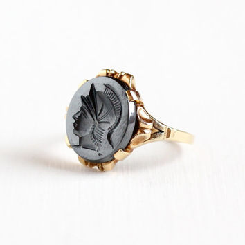 Vintage 10k Rosy Yellow Gold Roman Warrior Hematite Cameo Ring - Size 8 1/4 Art Deco Carved Intaglio Gray Gem Fine Jewelry Hallmarked H of K