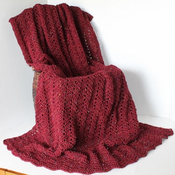 Afghan - Crochet Eyelet Ripple - Claret Red with colorful Flecks