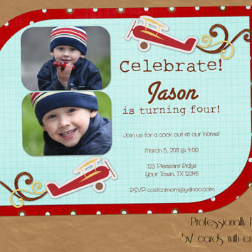 Airplane Custom Birthday Invitation  by DesignsByAmandaLee on Etsy