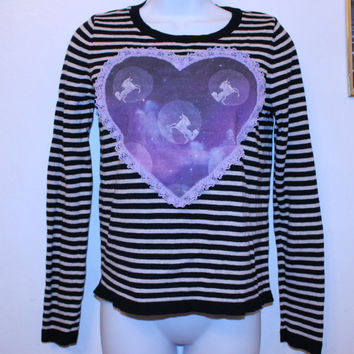 cosmic UNICORN heart striped sweater