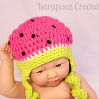 Newborn  watermelon hat,handmade fruit baby hat  multicolored, with button seeds  / cotton/ photo prop/0-3 months