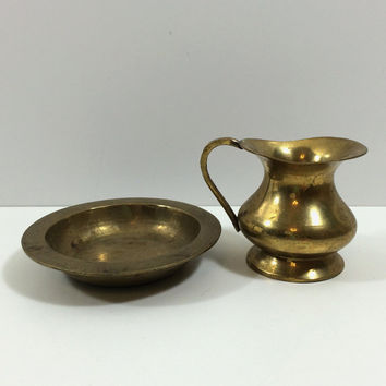"Small Vintage Brass Pitcher and Basin, 2.5"" High"