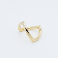Pointy knuckle midi ring
