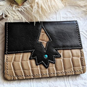 American Southwest Genuine Leather Black Beige Turquoise Business Card Holder