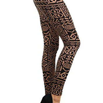 Amazing Grace Black and White Aztec Pattern Printed Leggings