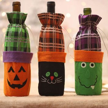 Halloween Wine Bottle Decor Set Pumpkin Clown Bottle Cover Clothes Kitchen Decoration for Home Party Dinner
