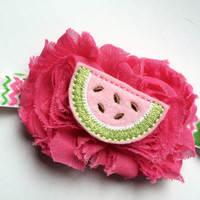 Watermelon Headband - Pink Watermelon Head Band for Girls - Pink and Green Chevron Headband Photo Prop - Hot Pink Shabby Flower Headband -