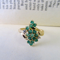 Vintage 10k Emerald Cocktail Ring Waterfall Cluster Style in Yellow Gold with Diamond Accents- Size 6.75