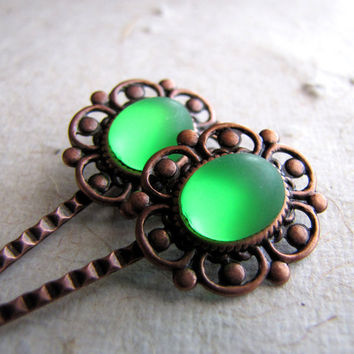 Steampunk Lace Hairpins  Absinthe Glow  Antiqued by AshleySpatula