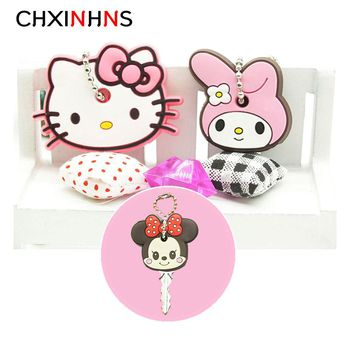 2PCS A SET Cartoon Anime Key Cover stitch minne Silicone Keychain Cute Hello Kitty Mario Garfield porte clef Key cap for women
