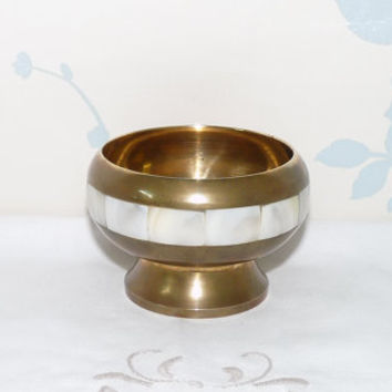 Small Brass Bowl with Mother of Pearl Inlay, MOP Band, Made in India, Footed Bowl, Bulbous shape, Homewares