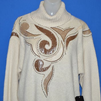 80s White Silk Turtleneck New With Tags Women's Sweater Large