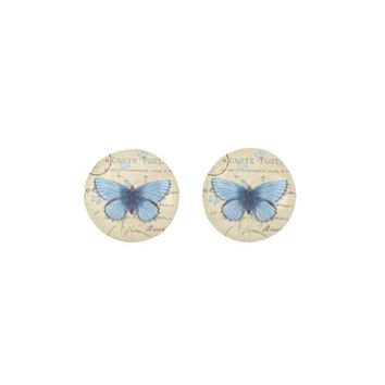 Vintage Blue Butterfly French Postcard Earrings