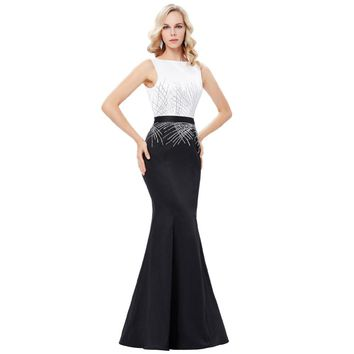 Long mermaid evening black & white gown /formal dress with sequins