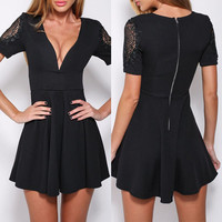 Black Lace Accent Short Sleeve Mini Skater Dress