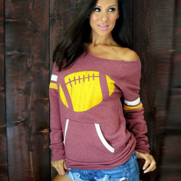 Football Print Long Sleeve Sweater