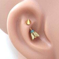 Gold Arrow Daith Rook Piercing