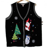 Shop Now! Ugly Sweaters: Santa & Snowman Tacky Ugly Christmas Sweater Vest Women's Plus Size 4X - Brand New! $25 - The Ugly Sweater Shop