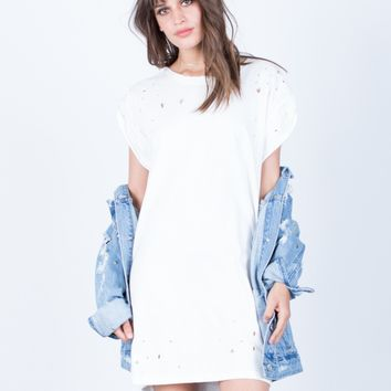 Distressed Tee Dress