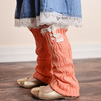 Vintage Lace Trim Boot Socks Coral 2 Button Leg Warmer - Kids Sizes!