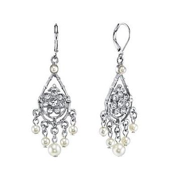 Silver-tone Crystal and Pearl Chandelier Earrings