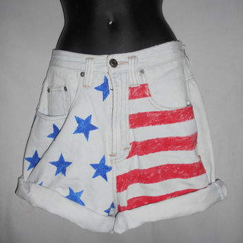 Vintage 80s Unionbay American Flag Shorts Size 7