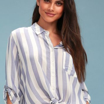 Ingrid Blue and White Striped Button-Up Top