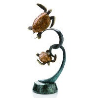 Double Turtles on Ribbon Brass and Marble Sculpture