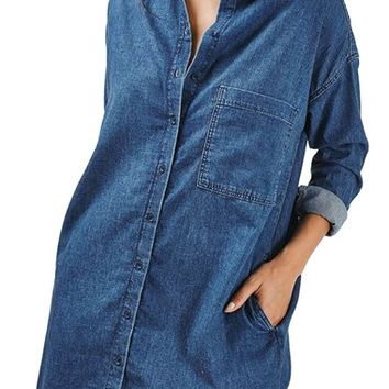 Topshop Moto Denim Shirtdress | Nordstrom
