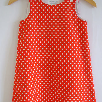 Girls dress, Polkadot, Spots, Red, White, Kids clothing, aline, pinafore, tunic, 100% cotton, girl, baby, toddler, size 6m to 8 years