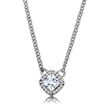 Vera Necklace - Women's Square Shaped Clear CZ Stainless Steel Necklace