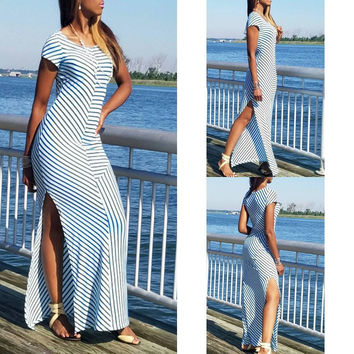 White and Blue Short Sleeve Wavy Maxi Dress with Side Slits