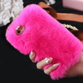 Warm Fluffy HOT PINK Plush Faux FUR Bling Case Cover Skin For iPhone 6/ 6S Plus FREE SHIPPING USA ONLY