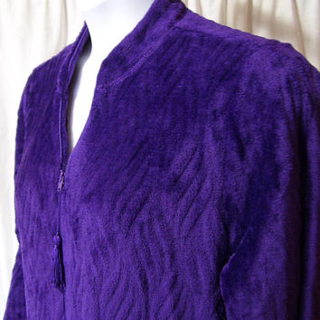 Long Robe, Purple. Plush Terry Velour, Lounging, Zip Front, Separating Zipper, Size L Large, Kim Rogers, Winter Warm