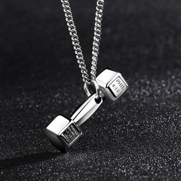 Dumbbell Pendant Gym Necklace for Bodybuilding and Workout Lovers