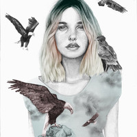 Girl with wild animals, eagles in illustration