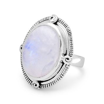 Sterling Silver Large 19mm Oval Rainbow Moonstone Ring