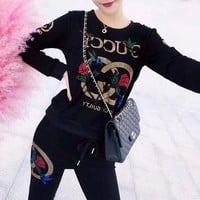 VONE05E Gucci' Women Casual Fashion Flower Letter Rhinestones Long Sleeve Trousers Set Two-Piece Sportswear