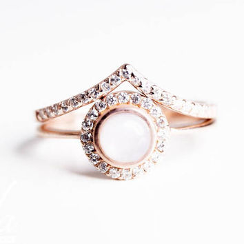 Engagement Ring Rose Gold - Opal Engagement Ring - Wedding Band Rose Gold - Art Nouveau Engagement Ring - Halo Engagement Ring