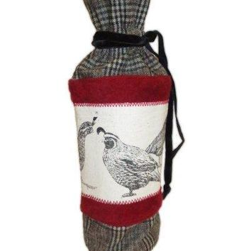 Faux Wool Glen Plaid, Red Felt Quail Table Wine Bag, Grey