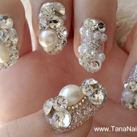 Japanese 3D Nail Art, Press On Nails, False Nails - Beautiful Silver Diamond Rhinestones Nail Tips (T087K)