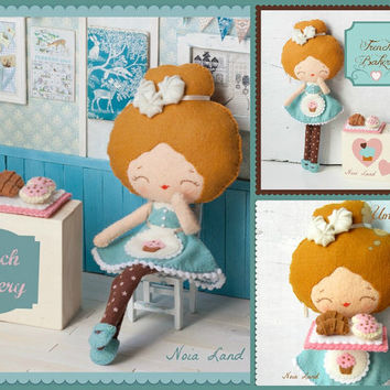 PDF. French bakery girl .Plush Doll Pattern, Softie Pattern, Soft felt Toy Pattern.