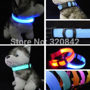LED Nylon Pet Dog Collar Night Safety LED Light-up Flashing Glow In The Dark Electric LED Pets Cat & Dog Collar Free Shipping