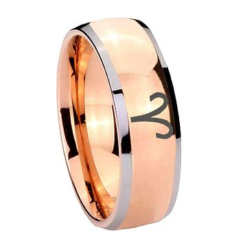 8MM Rose Gold Dome Aries Zodiac 2 Tone Tungsten Carbide Laser Engraved Ring