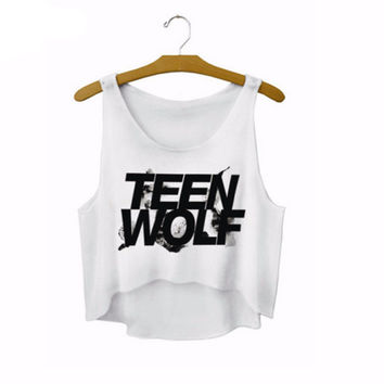 """Teen Wolf"" Letters Crop Top Summer Style Tank Top Women Tops Cheap Clothes  Cropped Fashion Mujer Sport Camisole"