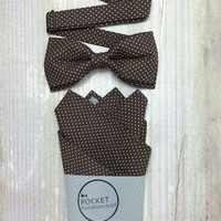 Bow Tie & Pocket Handkerchief by BartekDesign: set dark brown polka dots wedding grooms