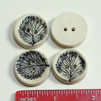 Leaf Buttons,pottery leaf buttons,hand stamped button,clay button,set of 4 buttons,black white buttons,woodland buttons,rustic black buttons