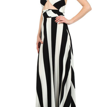 Striped Infinity Maxi Dress (Black/Off White)